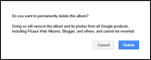 Google  delete photos warning