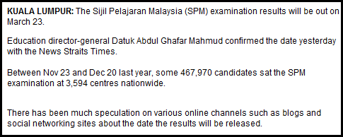 SPM results out on March 23 (NST)