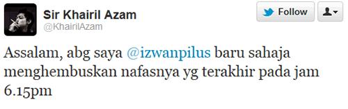 Tweet Aril AF7 Izwan Pilus meninggal dunia